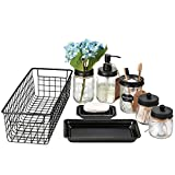 Mason Jar Bathroom Accessories Set 8 Pcs - Lotion Soap Dispenser,Toothbrush Holder,2 Apothecary Jars, Flower Vase,Soap Dish,Vanity Tray,Toilet Paper Holder Storage Bin,Vintage Farmhouse Decor (Black)