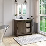 """Twin Star Home Style Freestanding Set 30"""" Single Bathroom Vanity with Sliding Barn Door and White Sink, Saw Cut Espresso"""